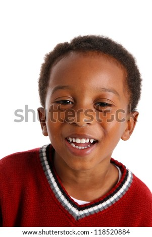 Portrait of a boy who is on white background