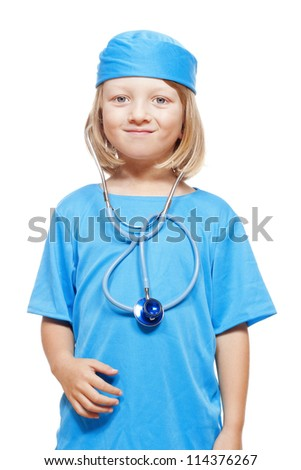 portrait of a boy with long blond hair playing a doctor