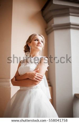 Portrait of a bride in a castle