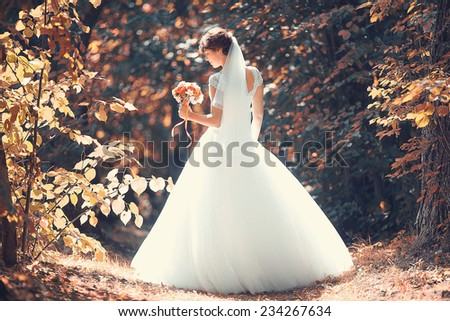 Portrait of a bride in a white dress - stock photo
