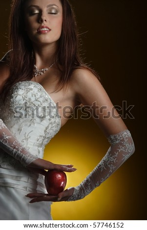 Yellow dress with red apples background.