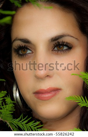 Portrait of a brunette - stock photo
