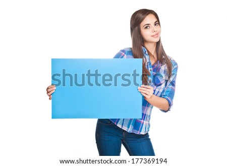 Portrait of a brunette beauty with blank banner.