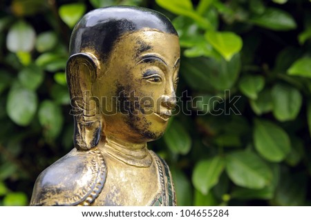 Portrait of a buddha statue with green leaf background - stock photo