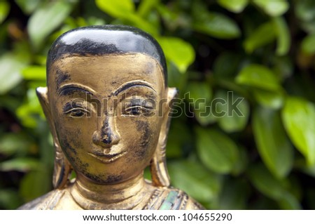 Portrait of a buddha statue with green leaf background