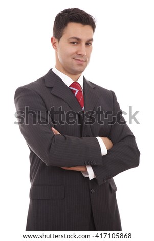 Portrait of a business man isolated on white background - stock photo