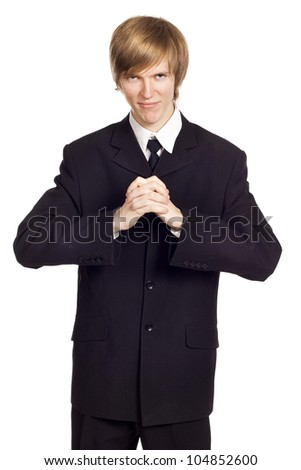 Portrait of a business man over isolated background - stock photo