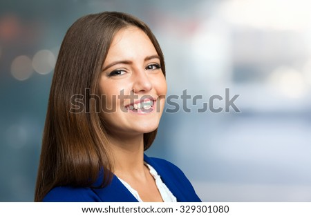 Portrait of a business woman in her office - stock photo