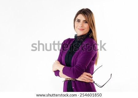 Portrait of a business woman smiling. White background. - stock photo