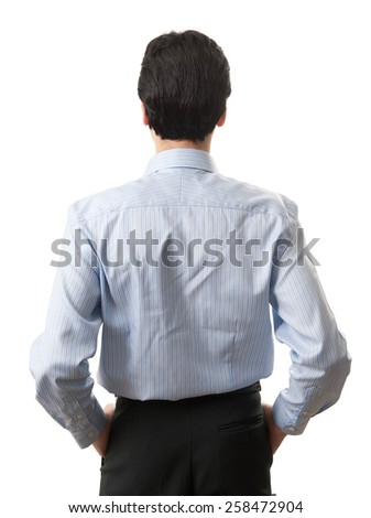 Portrait of a businessman back view isolated on white background