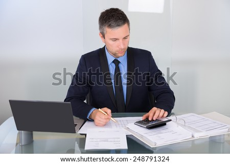 Portrait Of A Businessman Calculating Finance In Office - stock photo