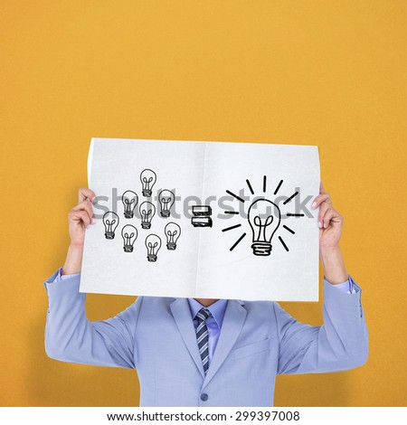 Portrait of a businessman hiding his face behind a blank panel against orange background - stock photo