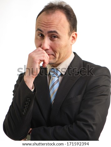 Portrait of a businessman in a suit looks incredulous,l age thirty-five, thirty-seven years - stock photo