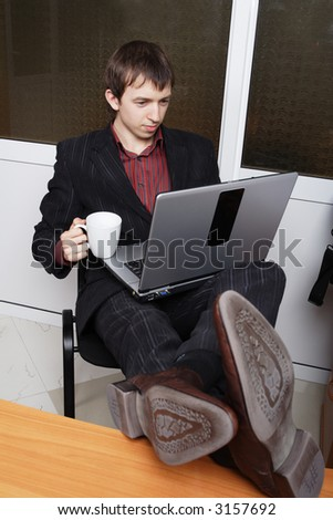 Portrait of a businessman in a working process
