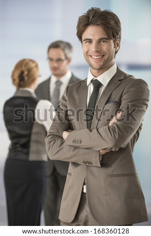 portrait of a businessman in workplace - stock photo