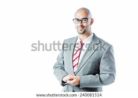 Portrait of a businessman isolated on white - stock photo