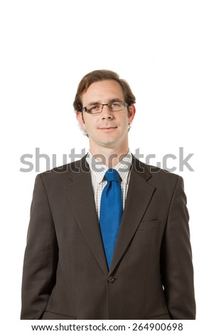 portrait of a businessman, isolated over white background - stock photo