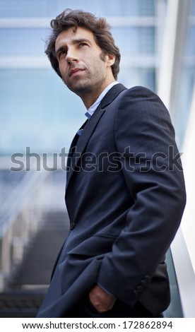 Portrait of a businessman looking at the future - stock photo