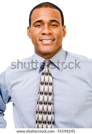 Portrait of a businessman posing and smiling isolated over white