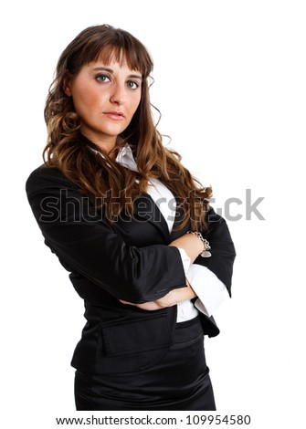 Portrait of a businesswoman isolated on white - stock photo