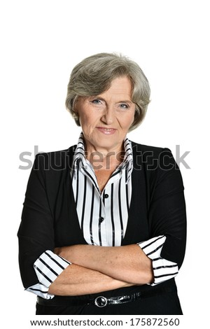 Portrait of a businesswoman on a white background