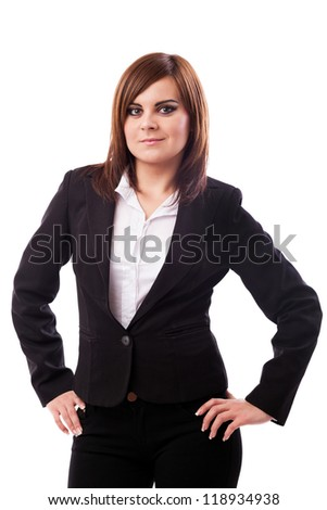 Portrait of a businesswoman standing with hands on hips isolated on white background - stock photo