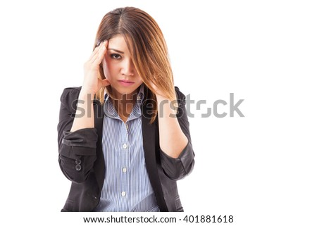 Portrait of a businesswoman stressed from work and feeling like a failure while making eye contact - stock photo