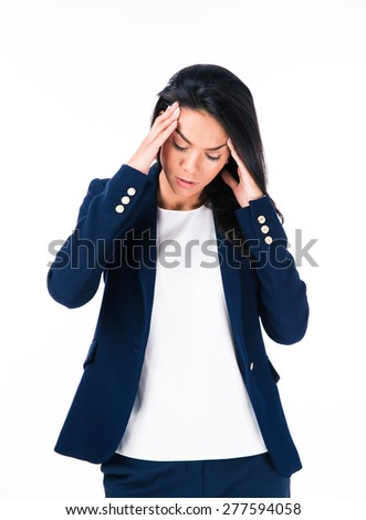 Portrait of a businesswoman with headache isolated on a white background - stock photo