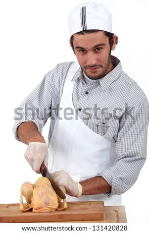 portrait of a butcher - stock photo