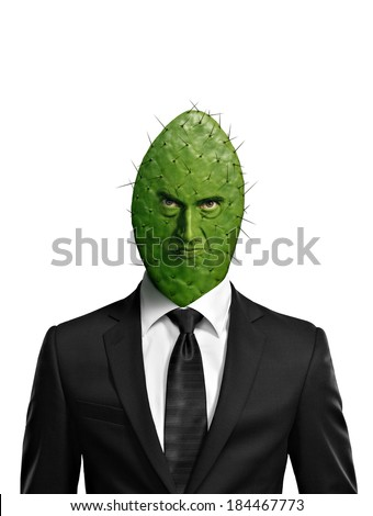 Portrait of a cactus head businessman isolated on white