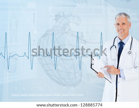 Portrait of a cardiologist smiling against a medical interface