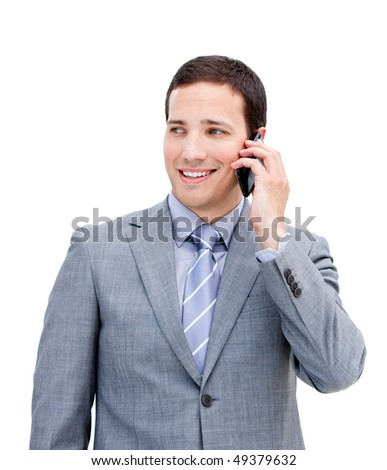 Portrait of a charismatic businessman on phone against a white background - stock photo