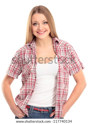 Portrait of a charming young female smiling against white background