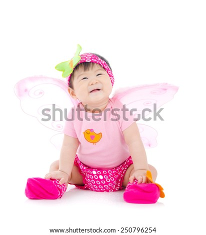 Portrait of a cheerful asian baby - stock photo