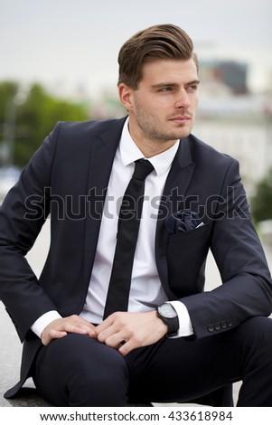 Portrait Cheerful Businessman Black Suit Summer Stock Photo ...
