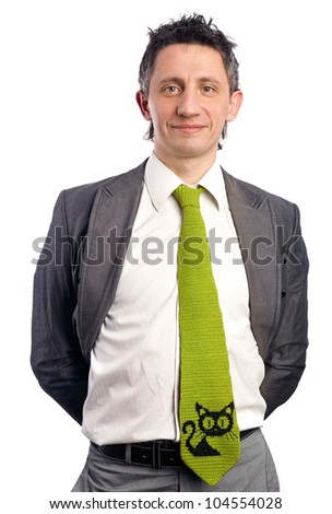 Portrait of a cheerful businessman over white background - stock photo