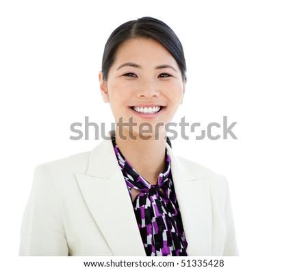 Portrait of a cheerful businesswoman against a white background - stock photo
