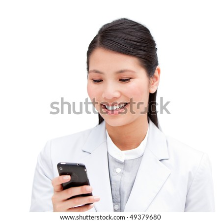Portrait of a cheerful businesswoman looking at his phone isolated in a white background - stock photo