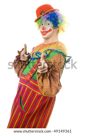 Portrait of a cheerful clown. Isolated on white