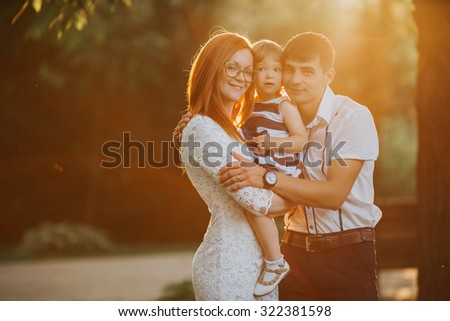 Portrait of a cheerful family having fun together  - stock photo