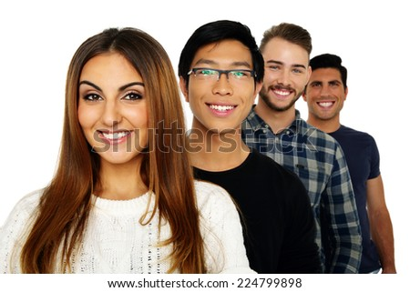 Portrait of a cheerful friends standing in a row - stock photo