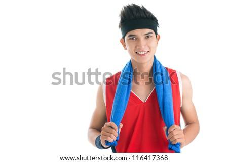 Portrait of a cheerful guy in sportswear - stock photo
