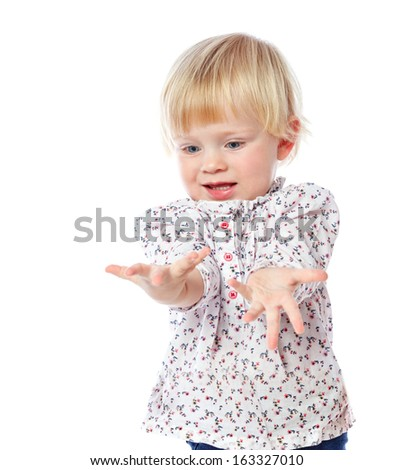 portrait of a cheerful  little girl - stock photo