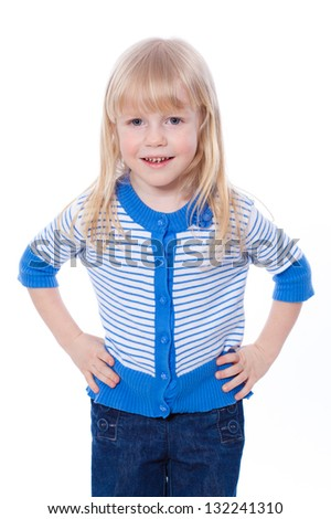 Portrait of a cheerful little girl, isolated on white - stock photo