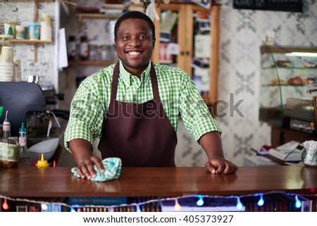Portrait of a cheerful man working at bar counter