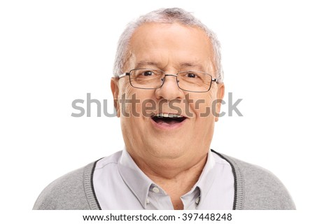 Portrait of a cheerful senior looking at the camera and smiling isolated on white background - stock photo