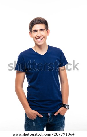 Portrait of a cheerful young casual man isolated on a white background. Looking at camera - stock photo