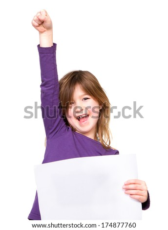 Portrait of a cheerful young girl holding blank sign with one arm raised - stock photo
