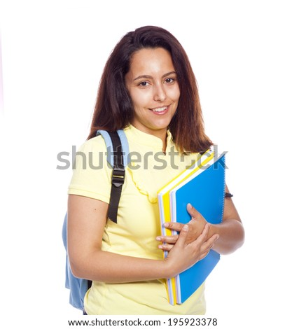 Portrait of a cheerful young student girl, isolated on white background