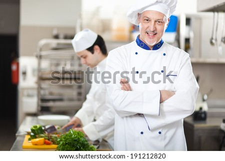 Portrait of a Chef at work in his Kitchen - stock photo